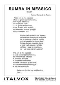 Rumba in Messico. Giuliano Piazza. Spartito Canzone